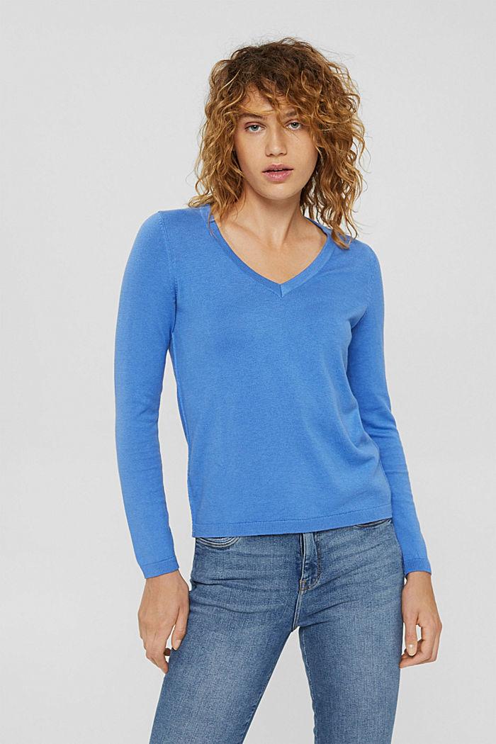 Basic V-Neck-Pullover, Bio-Baumwoll-Mix, BRIGHT BLUE, detail image number 0