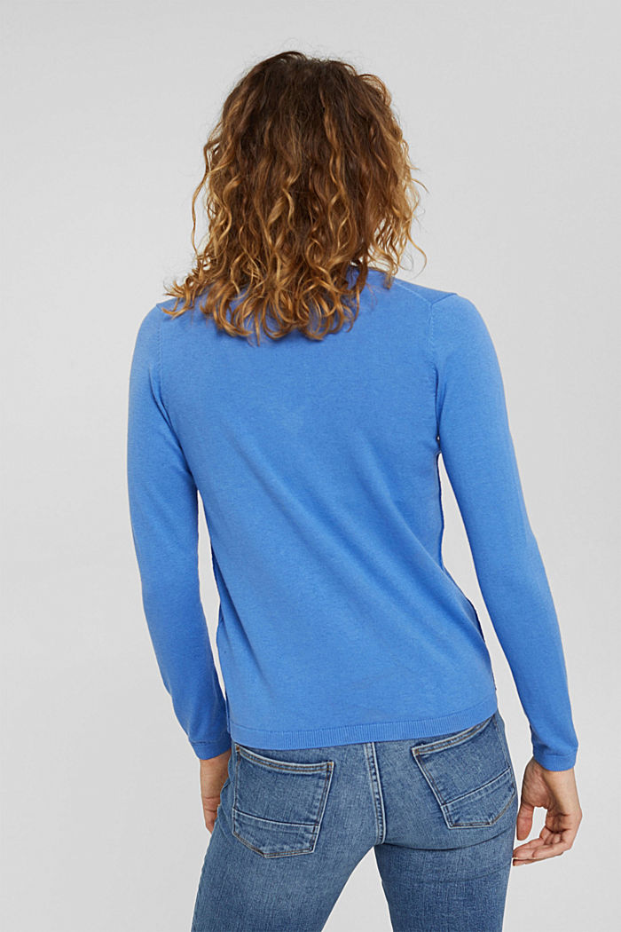 Basic V-Neck-Pullover, Bio-Baumwoll-Mix, BRIGHT BLUE, detail image number 3