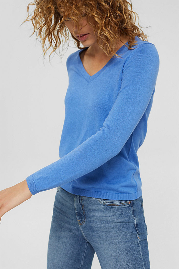 Basic V-Neck-Pullover, Bio-Baumwoll-Mix, BRIGHT BLUE, detail image number 5