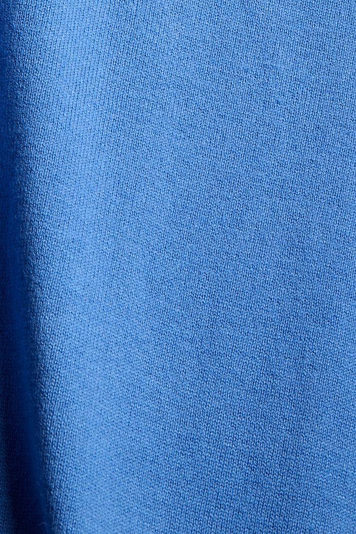 Basic V-Neck-Pullover, Bio-Baumwoll-Mix, BRIGHT BLUE, detail image number 4