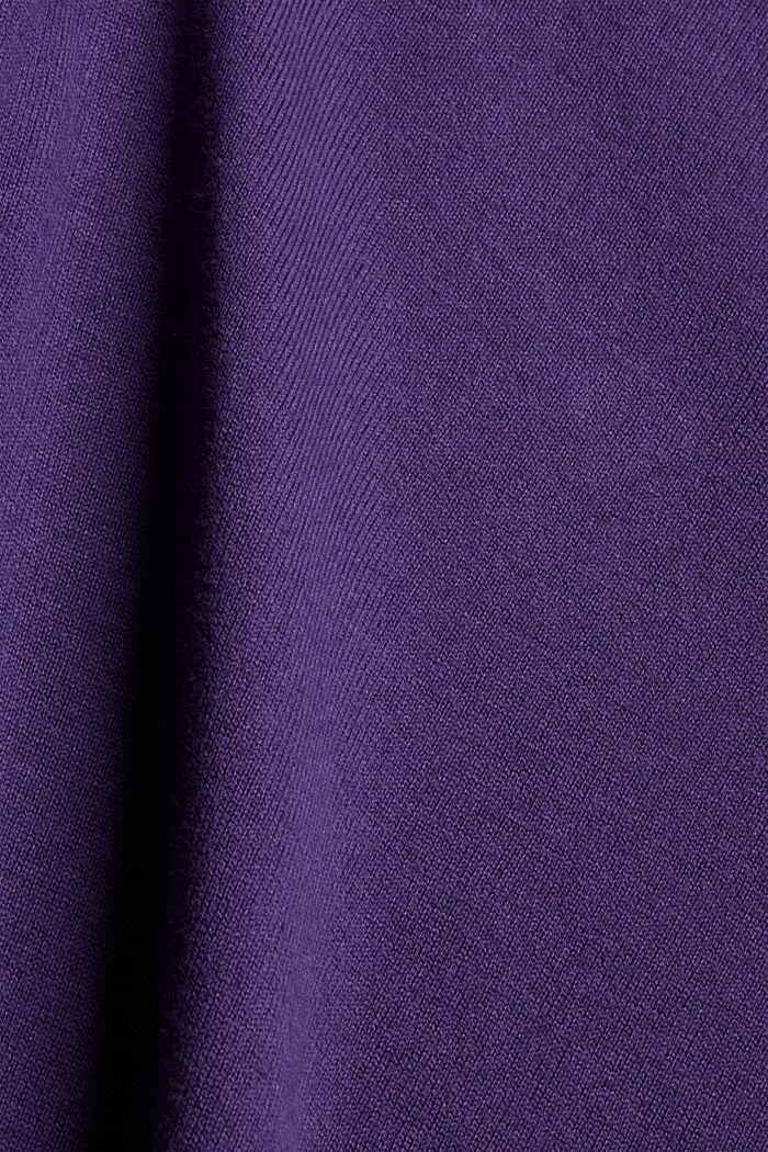 Basic trui met V-hals, mix met biologisch katoen, DARK PURPLE, detail image number 4
