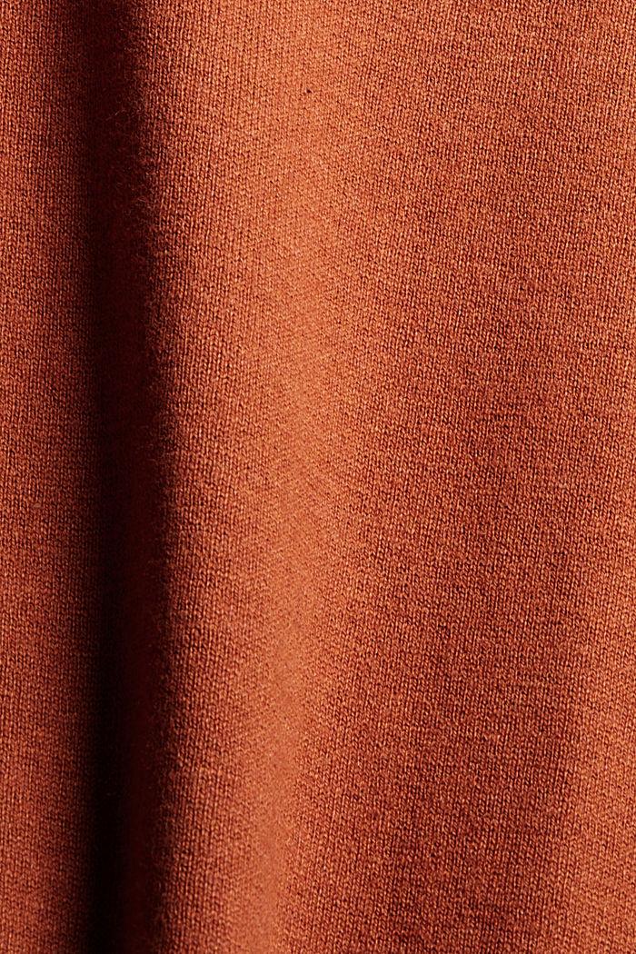 Basic V-Neck-Pullover, Bio-Baumwoll-Mix, RUST ORANGE, detail image number 4