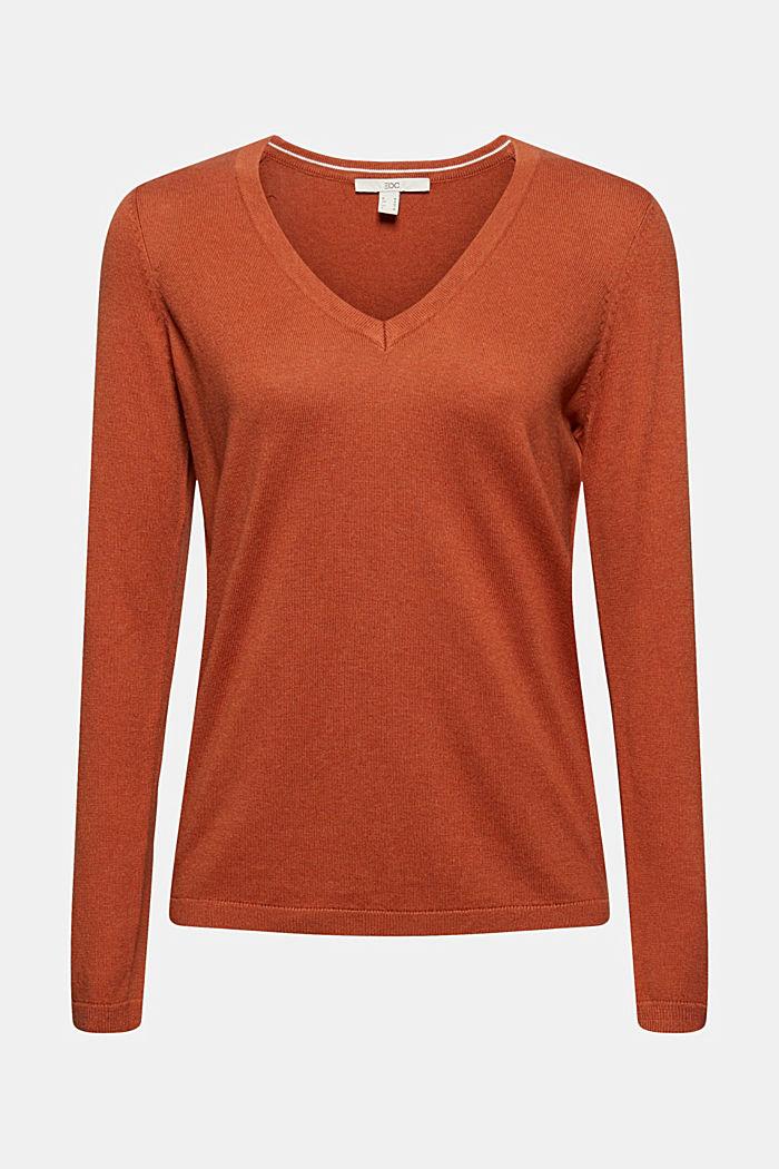 Basic V-Neck-Pullover, Bio-Baumwoll-Mix, RUST ORANGE, detail image number 6