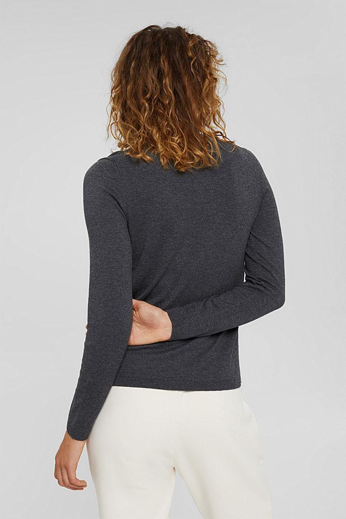 Jersey básico de cuello redondo, mezcla de algodón ecológico, DARK GREY, detail image number 3