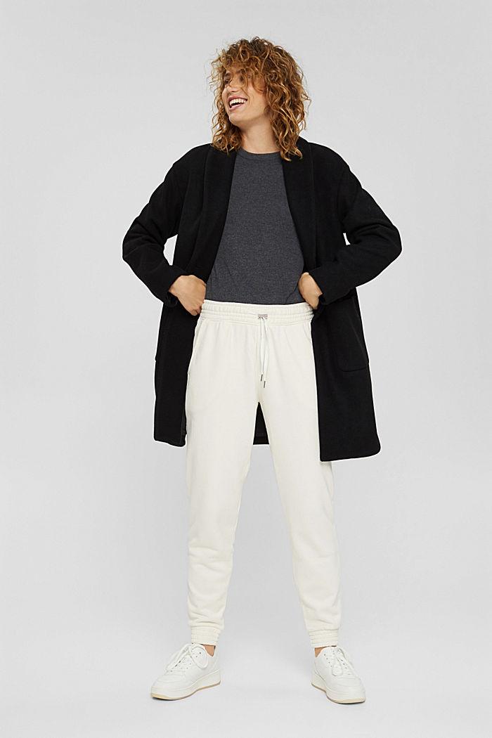 Jersey básico de cuello redondo, mezcla de algodón ecológico, DARK GREY, detail image number 1
