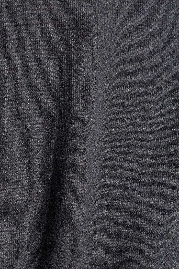 Jersey básico de cuello redondo, mezcla de algodón ecológico, DARK GREY, detail image number 4