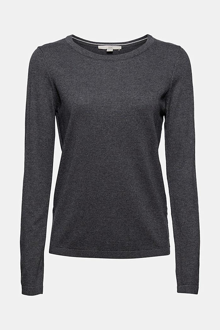 Jersey básico de cuello redondo, mezcla de algodón ecológico, DARK GREY, detail image number 5