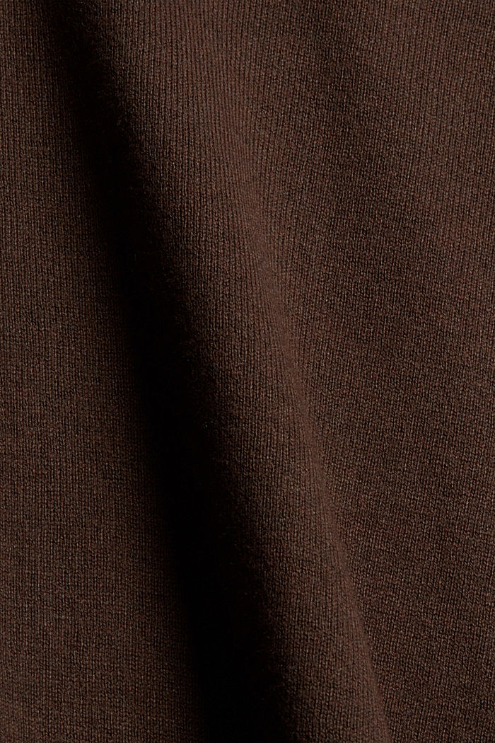 Basic Rundhals-Pullover, Bio-Baumwoll-Mix, BROWN, detail image number 4