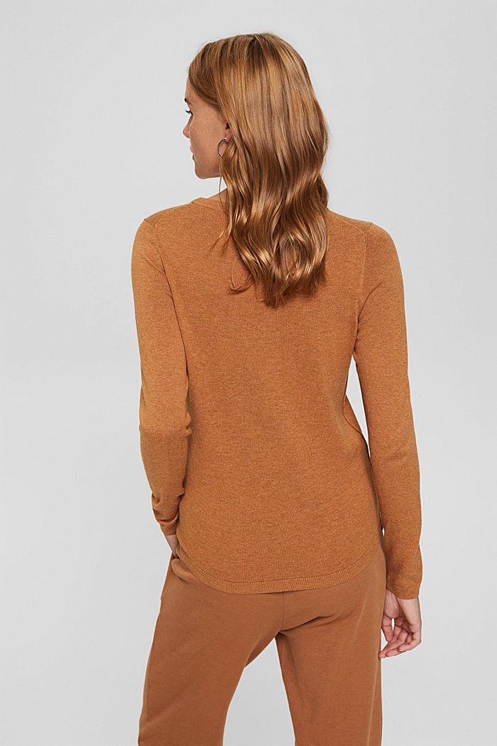 Basic trui met ronde hals, mix met biologisch katoen, BARK, detail image number 3