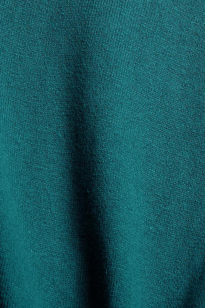 Basic Rundhals-Pullover, Bio-Baumwoll-Mix, EMERALD GREEN, detail image number 4