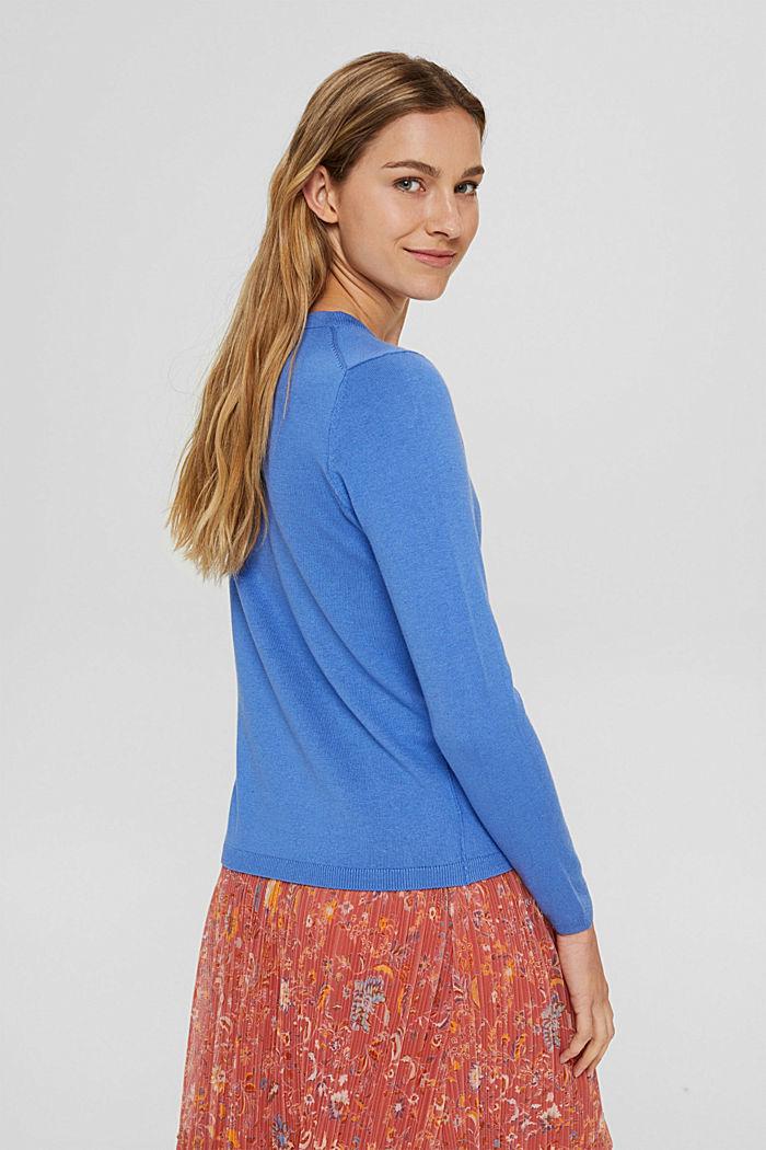 Basic round neck jumper, organic cotton blend, BRIGHT BLUE, detail image number 3