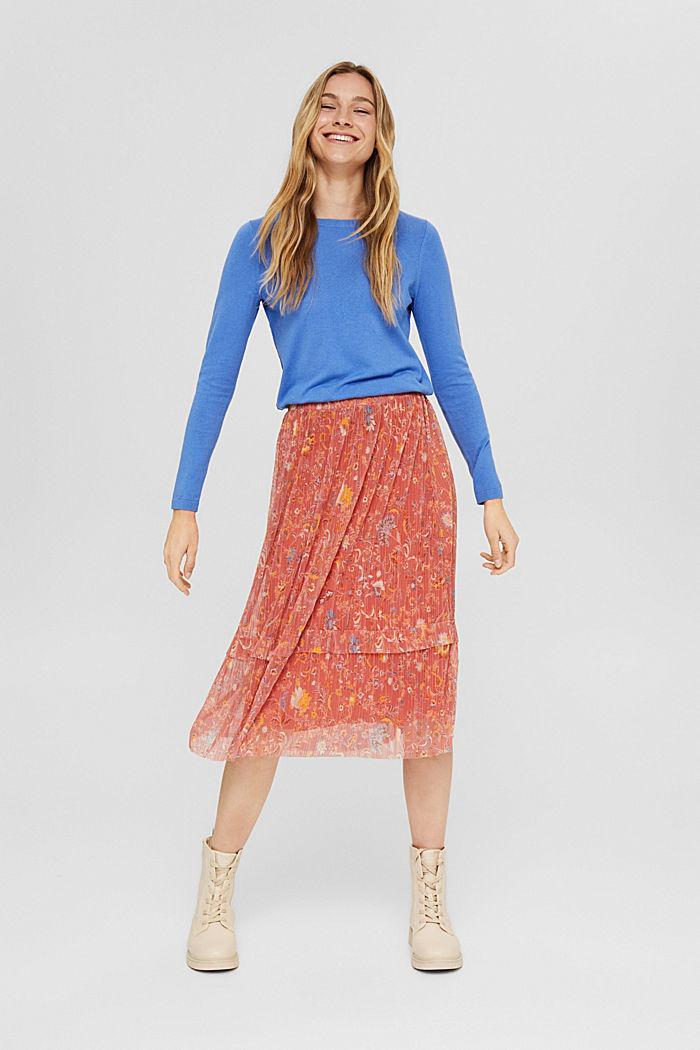 Basic round neck jumper, organic cotton blend, BRIGHT BLUE, detail image number 1