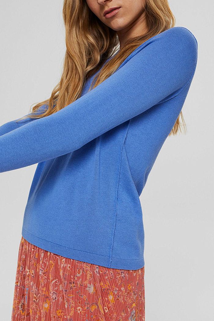 Basic round neck jumper, organic cotton blend, BRIGHT BLUE, detail image number 2