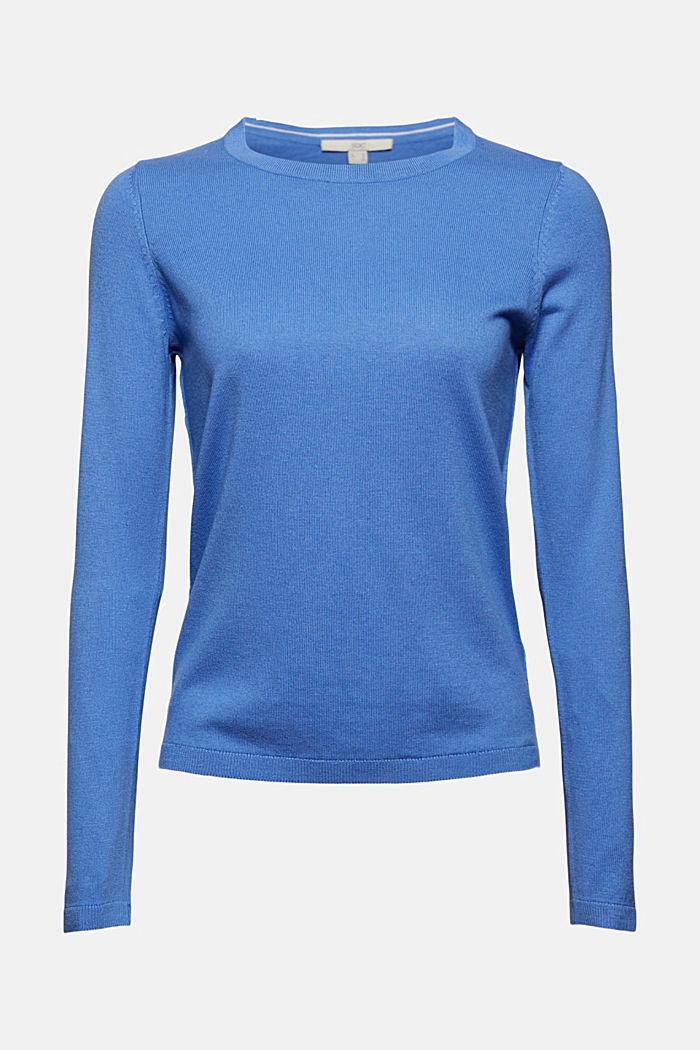 Basic round neck jumper, organic cotton blend, BRIGHT BLUE, detail image number 6