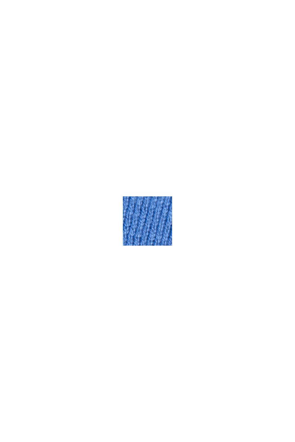 Basispullover med rund hals, økologisk bomuldsblanding, BRIGHT BLUE, swatch