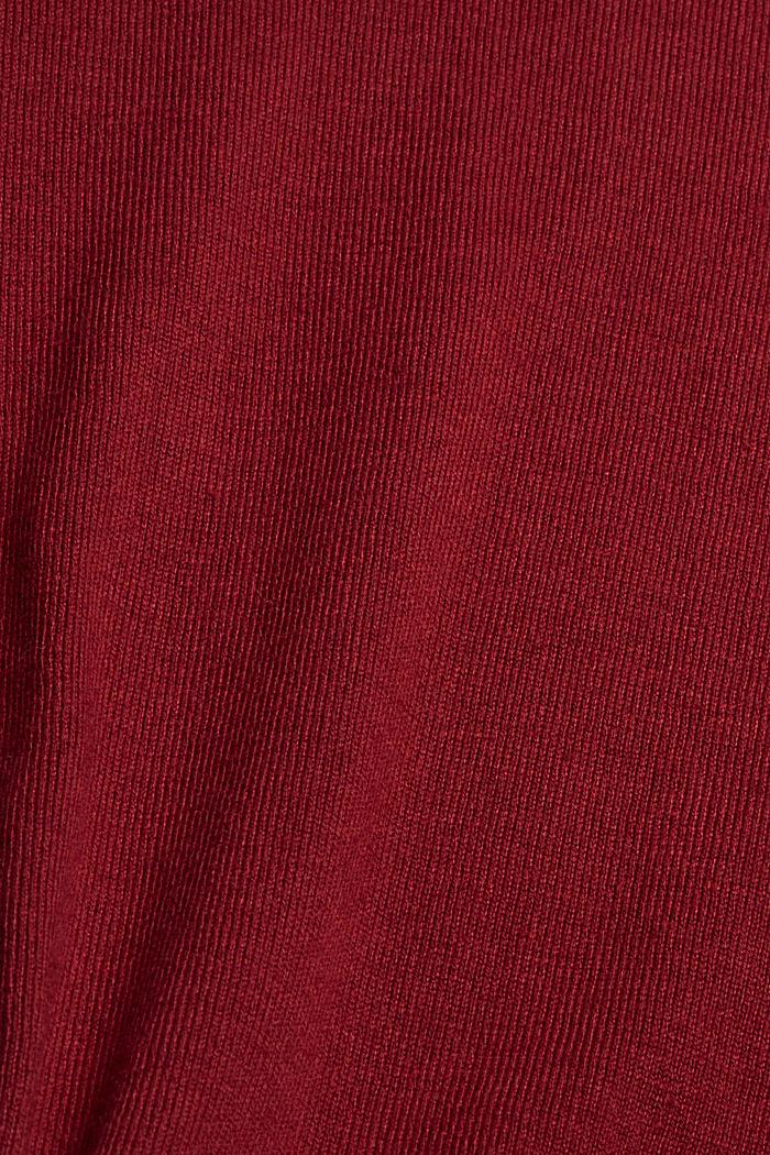 Basic Rundhals-Pullover, Bio-Baumwoll-Mix, DARK RED, detail image number 4