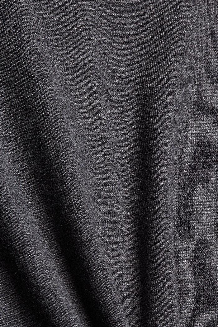 Cárdigan básico de cuello redondo confeccionado en una mezcla de algodón ecológico, DARK GREY, detail image number 4