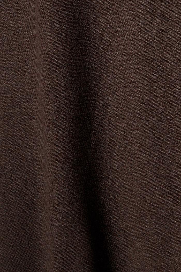 Cárdigan básico de cuello redondo confeccionado en una mezcla de algodón ecológico, BROWN, detail image number 4
