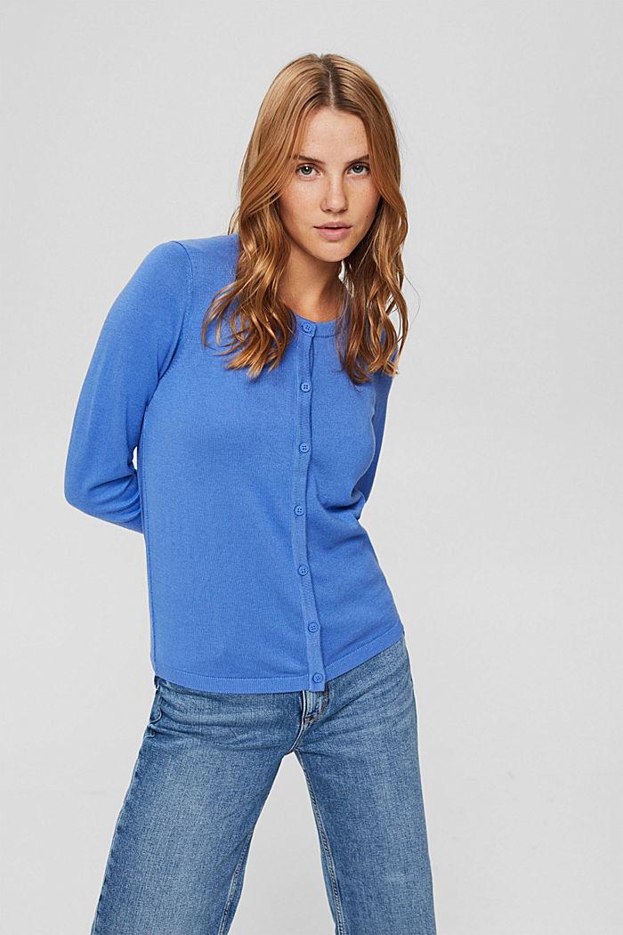 Cárdigan básico de cuello redondo confeccionado en una mezcla de algodón ecológico, BRIGHT BLUE, detail image number 0