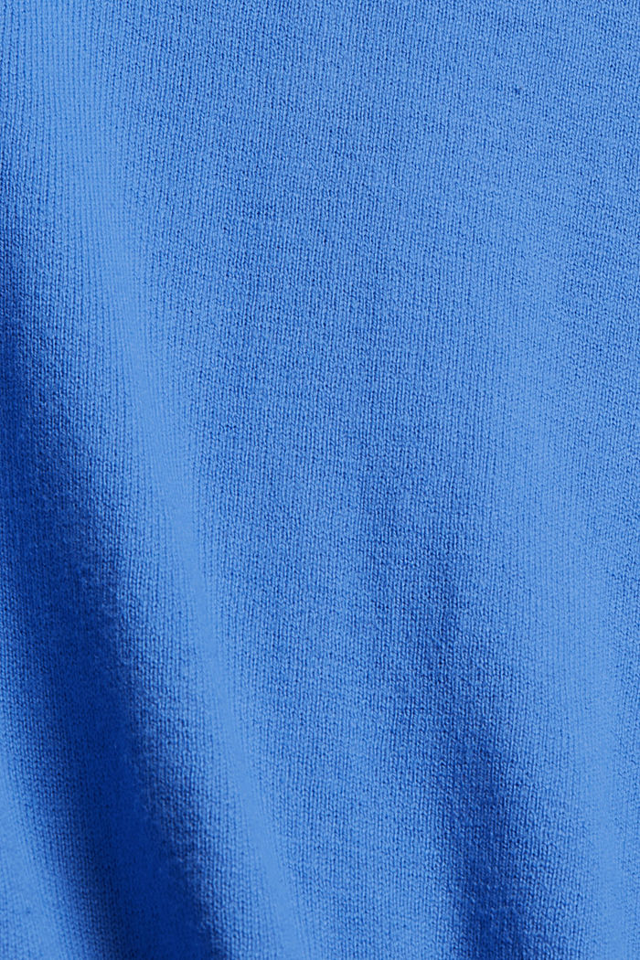Cárdigan básico de cuello redondo confeccionado en una mezcla de algodón ecológico, BRIGHT BLUE, detail image number 4