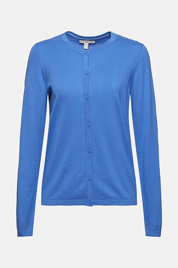 Cárdigan básico de cuello redondo confeccionado en una mezcla de algodón ecológico, BRIGHT BLUE, detail image number 6