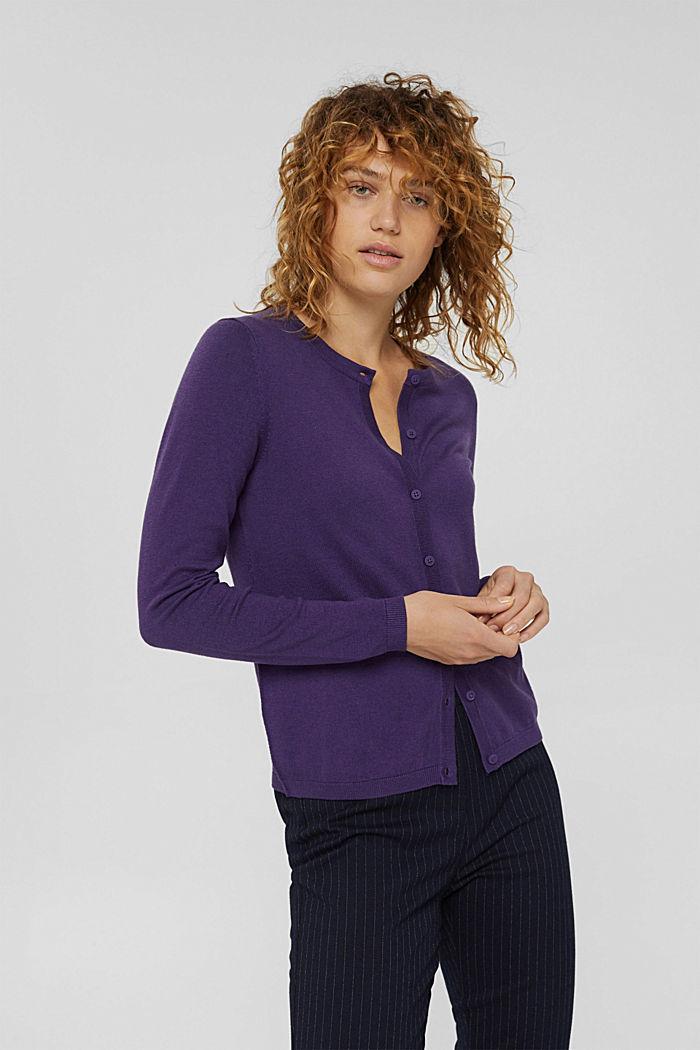 Basic round neck cardigan made of an organic cotton blend, DARK PURPLE, detail image number 0