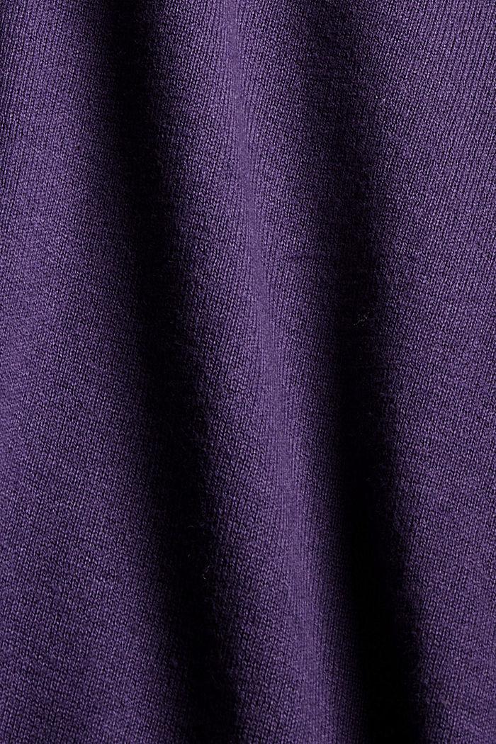 Basic round neck cardigan made of an organic cotton blend, DARK PURPLE, detail image number 4