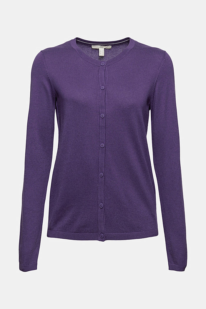 Basic round neck cardigan made of an organic cotton blend, DARK PURPLE, detail image number 6