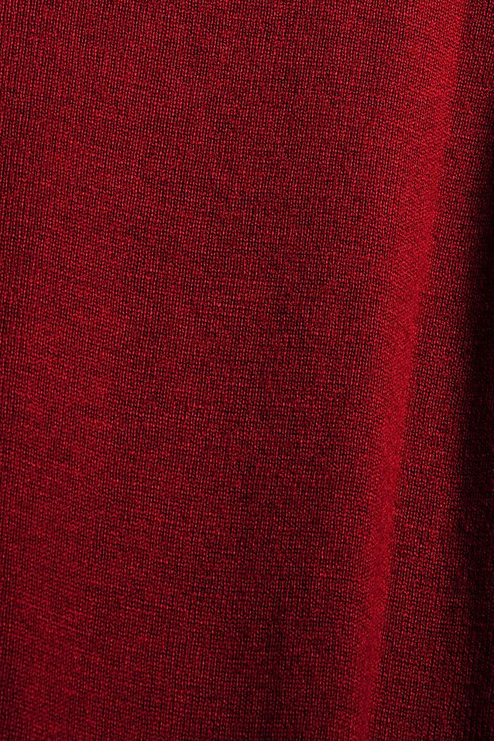 Basic Rundhals-Cardigan aus Bio-Baumwoll-Mix, DARK RED, detail image number 4