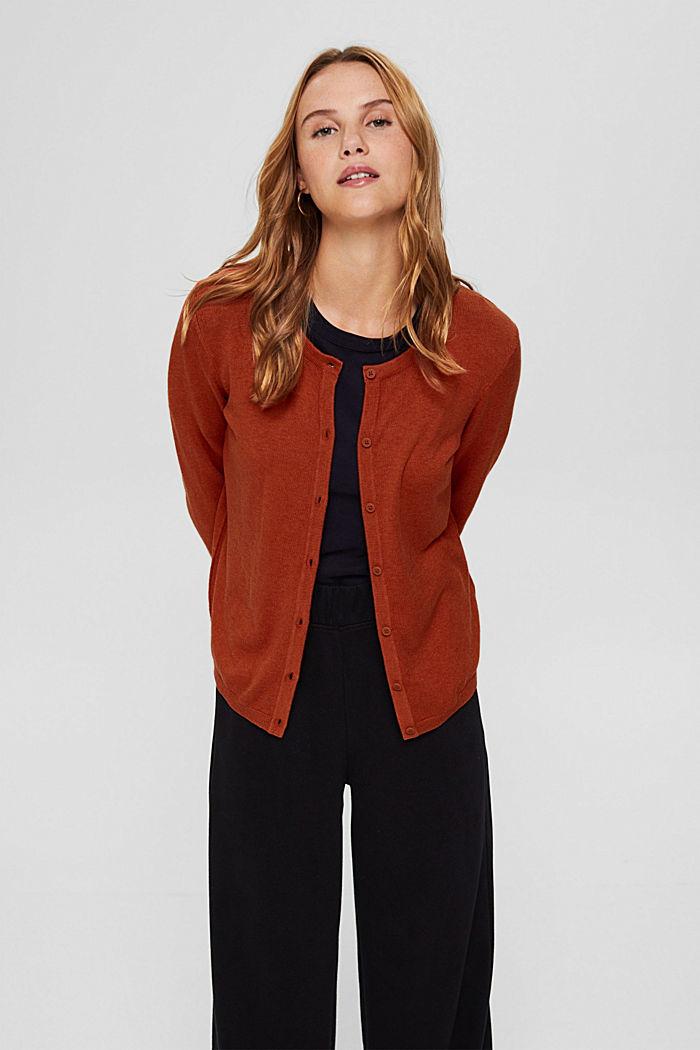 Basic round neck cardigan made of an organic cotton blend, RUST ORANGE, detail image number 0