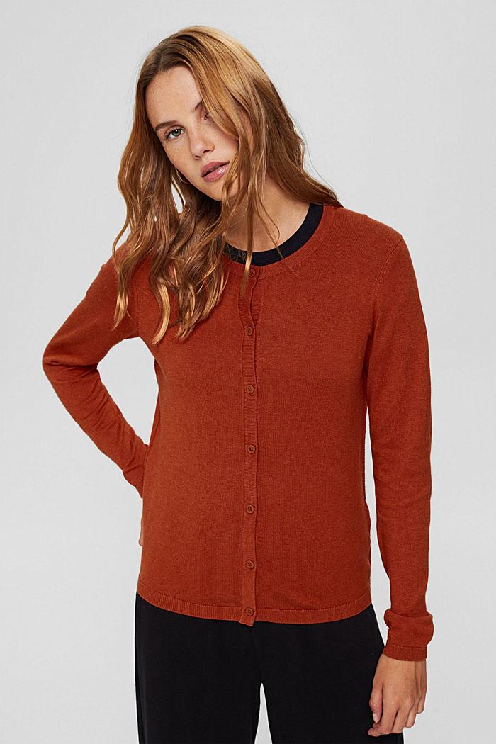 Basic round neck cardigan made of an organic cotton blend, RUST ORANGE, detail image number 5