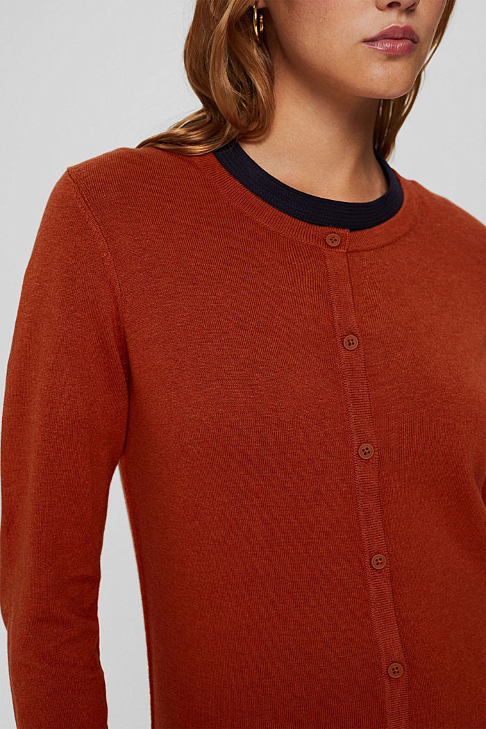 Basic round neck cardigan made of an organic cotton blend, RUST ORANGE, detail image number 2