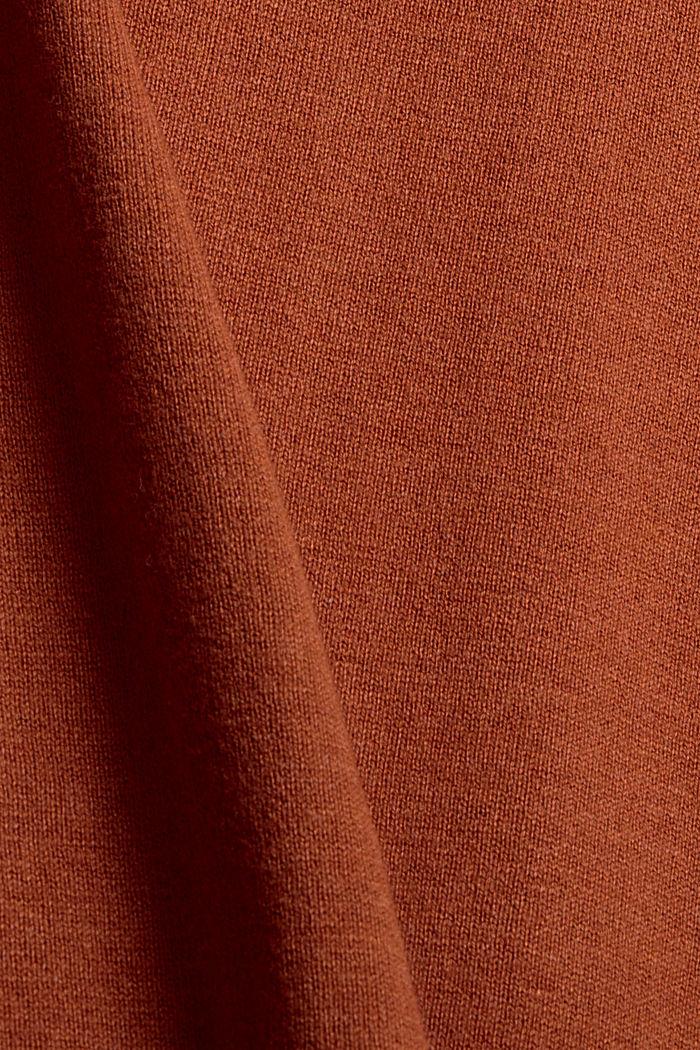 Basic round neck cardigan made of an organic cotton blend, RUST ORANGE, detail image number 4