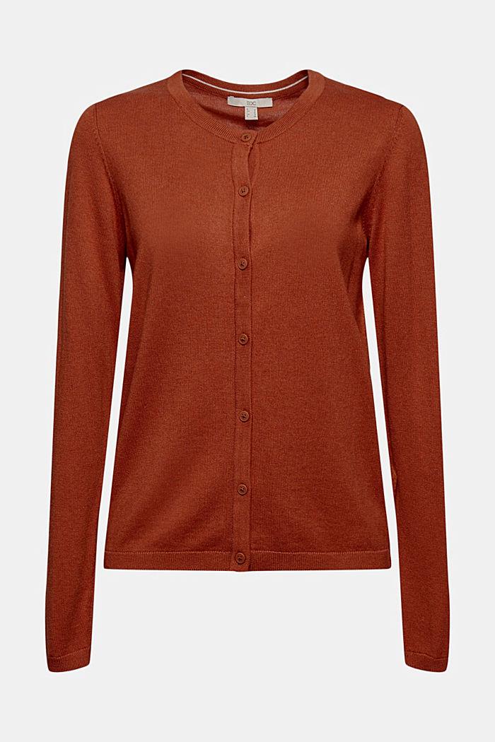 Basic round neck cardigan made of an organic cotton blend, RUST ORANGE, detail image number 7
