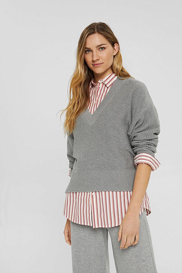 Pullover mit High-Low-Saum, 100% Baumwolle, MEDIUM GREY, detail image number 0