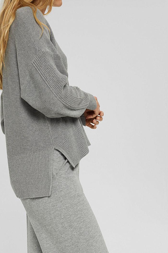 Pullover mit High-Low-Saum, 100% Baumwolle, MEDIUM GREY, detail image number 2