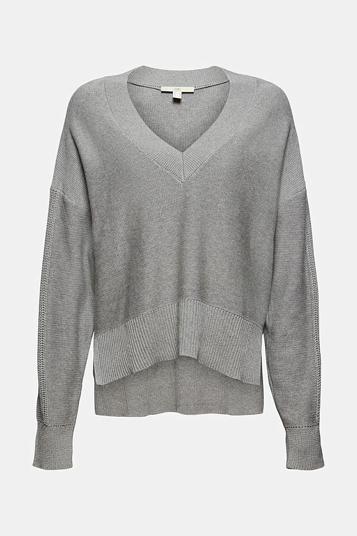 Pullover mit High-Low-Saum, 100% Baumwolle, MEDIUM GREY, detail image number 5
