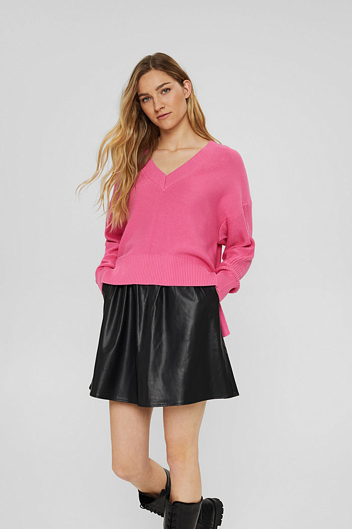 Jumper with a high-low hem, 100% cotton, PINK, detail image number 0