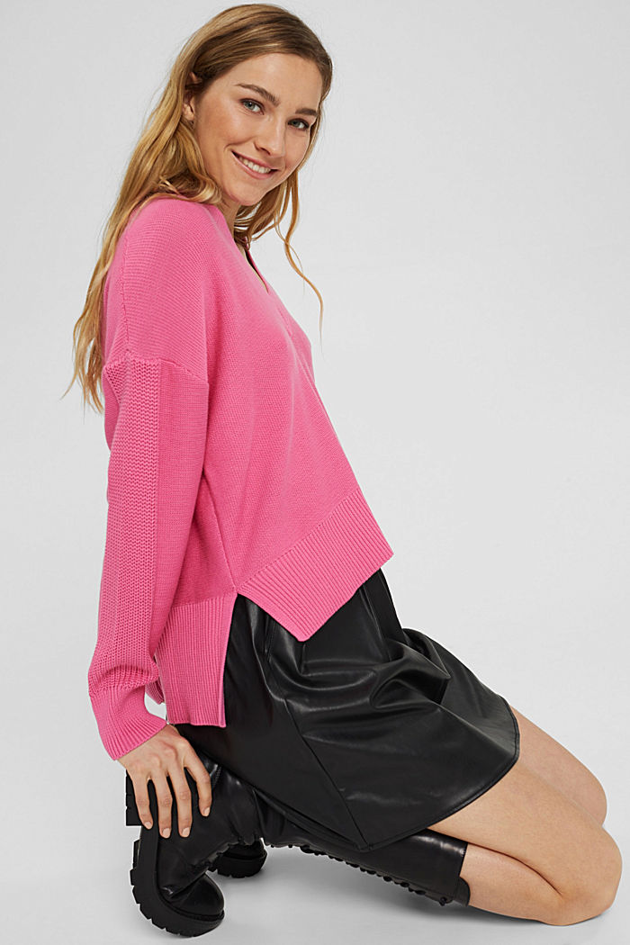 Jumper with a high-low hem, 100% cotton, PINK, detail image number 5