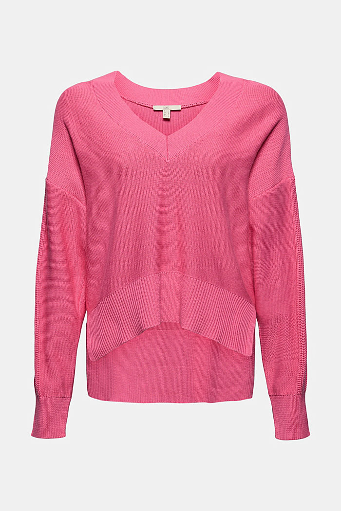 Jumper with a high-low hem, 100% cotton
