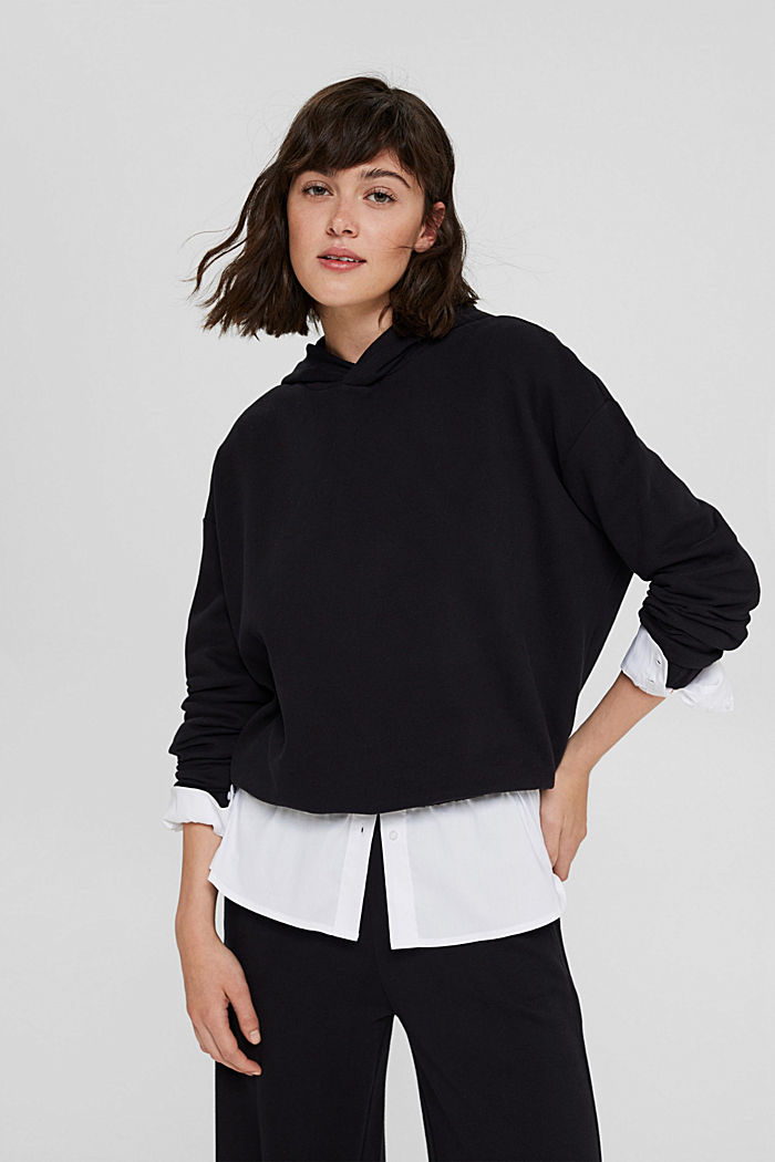 Hoodie made of 100% organic cotton, BLACK, detail image number 0
