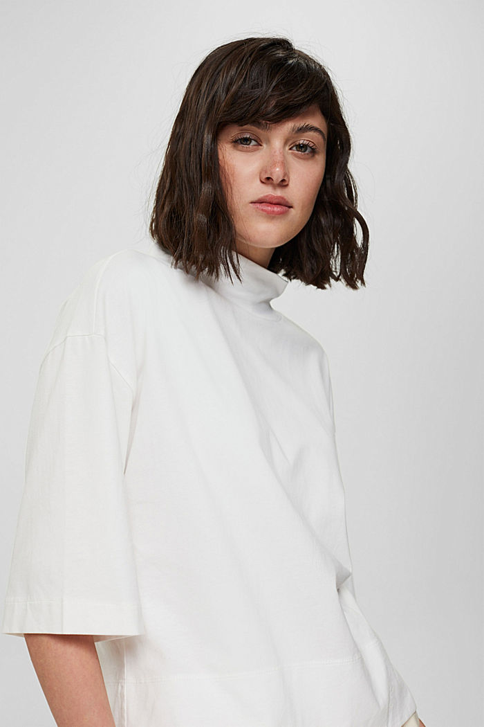 Stehkragen-Shirt aus 100% Bio-Baumwolle