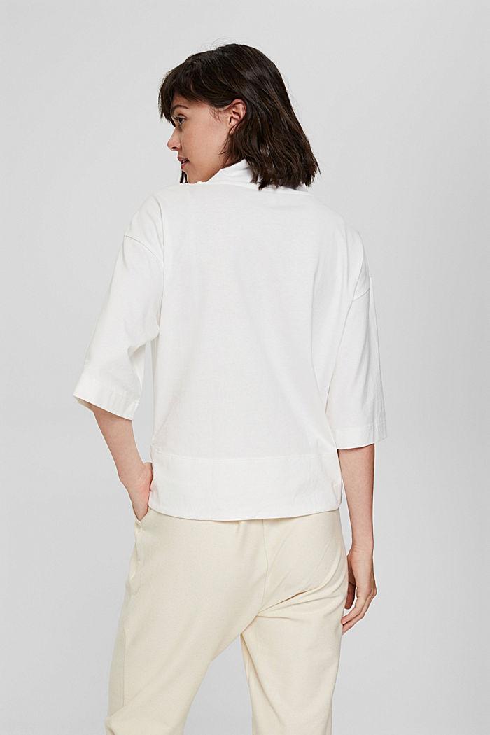 Stehkragen-Shirt aus 100% Bio-Baumwolle, OFF WHITE, detail image number 3