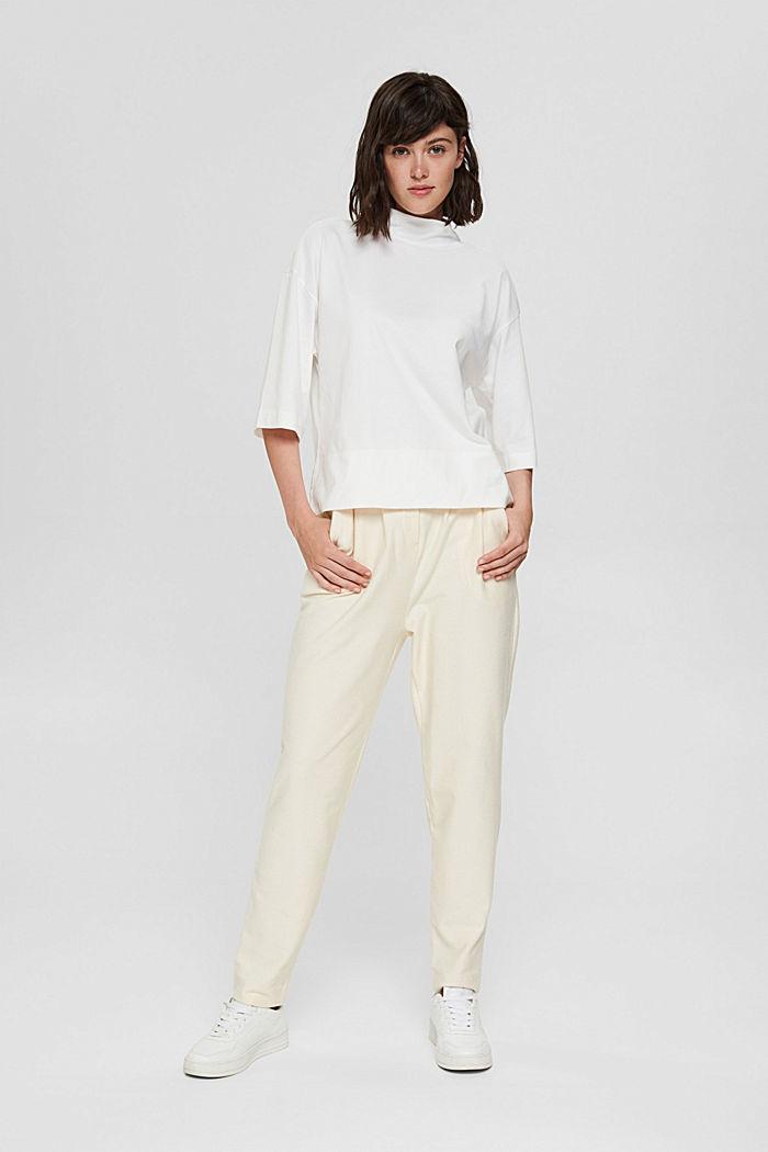Stehkragen-Shirt aus 100% Bio-Baumwolle, OFF WHITE, detail image number 1