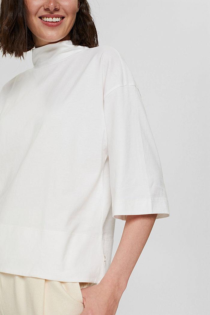 Stehkragen-Shirt aus 100% Bio-Baumwolle, OFF WHITE, detail image number 2