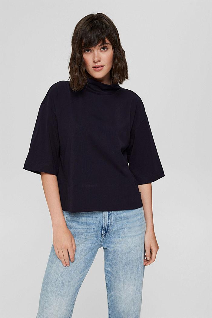 Stehkragen-Shirt aus 100% Bio-Baumwolle, NAVY, detail image number 0