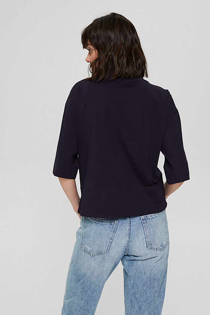 Stehkragen-Shirt aus 100% Bio-Baumwolle, NAVY, detail image number 3