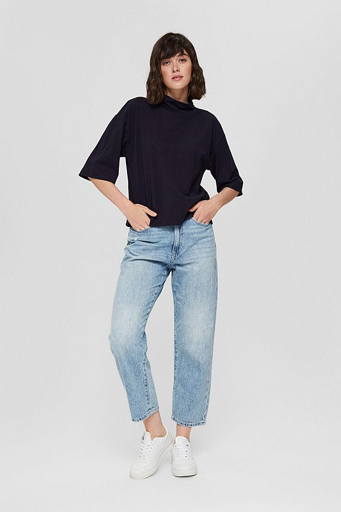 Stehkragen-Shirt aus 100% Bio-Baumwolle, NAVY, detail image number 1