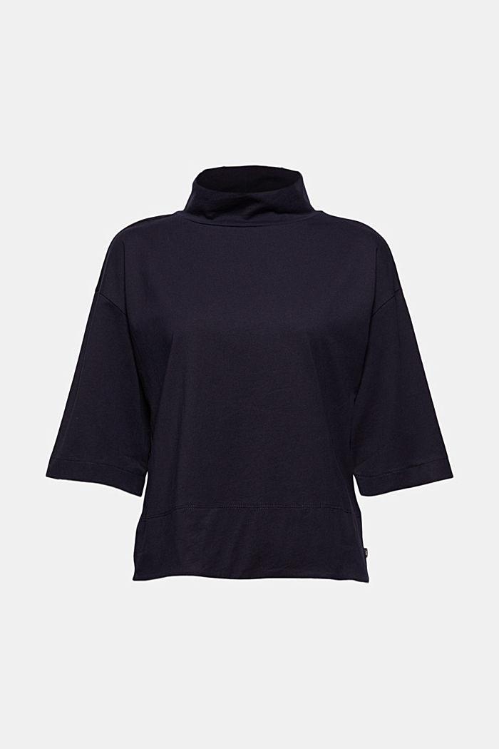 Stehkragen-Shirt aus 100% Bio-Baumwolle, NAVY, detail image number 5