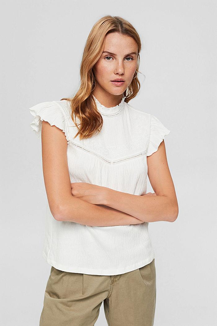 Shirt mit Stickerei und Flügelärmeln, OFF WHITE, detail image number 0